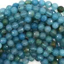 (Faceted Blue Crab Fire Agate Round Beads 15