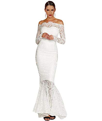 Lalagen Women's Floral Lace Long Sleeve Off Shoulder Wedding Mermaid Dress White M