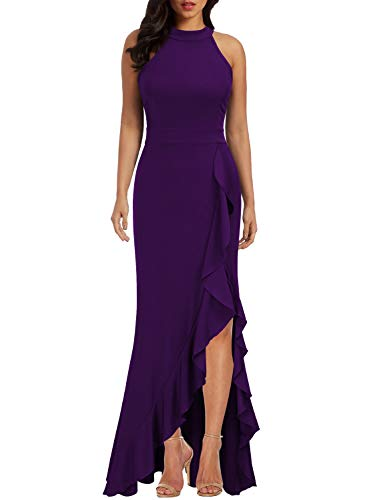 WOOSEA Women's High Neck Split Bodycon Mermaid Evening Cocktail Long Dress Purple