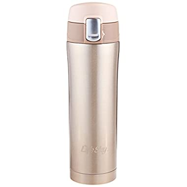 LifeSky Stainless Steel Insulated Travel Coffee Mug, 16 oz, Champagne