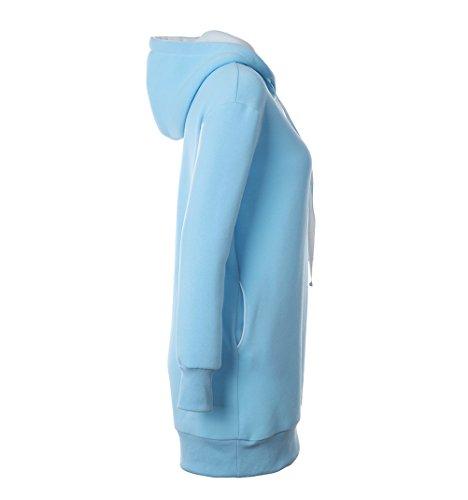 Pullover Oversize Felpa Maglia Casuale Longsleeve Autunno Invernale Donna Pattern Blu Felpe Moda Lunghi Elegante Stampato Baggy Cappuccio ZZpBP
