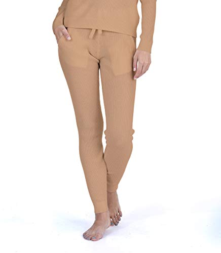 - State Cashmere Women's 100% Pure Cashmere Knitted Loungewear Pants with Pockets (Pants/Cammello, Small)
