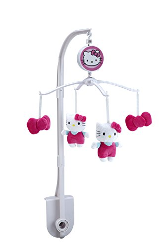 Hello Kitty Crib Bedding Set (Sanrio Hello Kitty Cute as A Button, Musical Mobile/Pink/White)