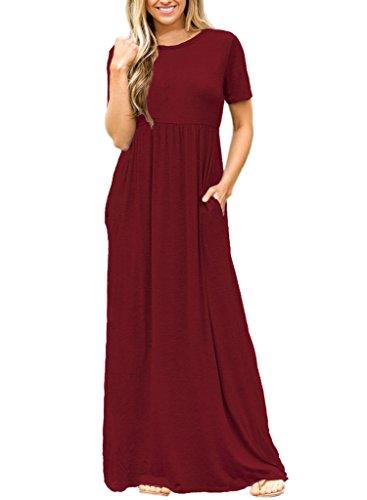 Women's Short Sleeve Crewneck Solid Long Maxi Casual Plain Dresses with Pockets Medium Size Burgundy