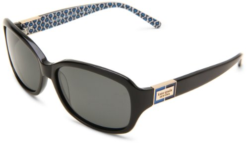 Kate Spade Women's Annikps Polarized Rectangular Sunglasses,Black & Blue Frame/Gray Lens,One - Case Spade Kate Sunglass