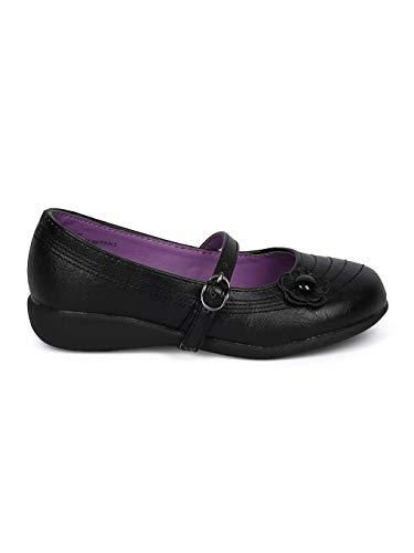 Schola Sammi-02 Girls Leatherette Round Toe Flower Applique Mary Jane Uniform Shoe HD42 - Black Leatherette (Size: Big Kid 3) by Alrisco (Image #1)