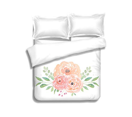 Duvet Cover Set Watercolor wedding flowers Watercolor peonies and leaves Floral arrangement Wedding clipart 3 Piece Bedding Set with Pillow Shams, Queen/Full, Dark Orange White Teal - Wedding Clipart