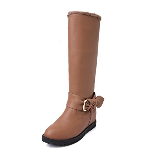 Allhqfashion Women's Pull-on Round Closed Toe Kitten-Heels PU High-top Boots Camel UwxqYXG4Q7