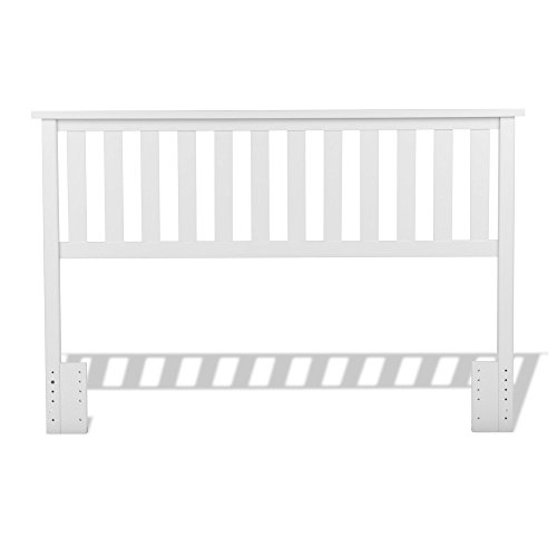 Fashion Bed Group Belmont Wood Headboard Panel with Flat Top Rail and Slatted Grill Design, White Finish, Full / Queen Review