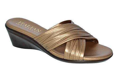 Bronze On Slip (ITALIAN Shoemakers Womens Kenny Criss Cross Fashion Wedge Sandals Made in Italy,Bronze,8)