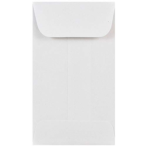 JAM PAPER #3 Coin Business Commercial Envelopes - 2 1/2 x 4 1/4 - White - 50/Pack
