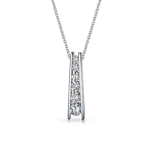 Graduated Pendant Journey (Bling Jewelry Graduated CZ Journey Bar Pendant Sterling Silver Necklace 18 Inches)