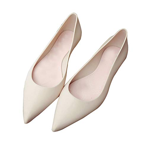 heipeiwa Women Ballet Flats Pointed Toe Jelly Shoes Casual Waterproof Rain Shoes Nude