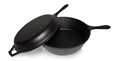 Ultimate Pre-Seasoned 2-In-1 Iron Cast Cooker Combo By Bruntmor - Heavy Duty 3 Quart Skillet and Lid Set, Versatile Healthy Design, Non-Stick Enamelled Kitchen Cookware, Use As Dutch Oven Frying Pan