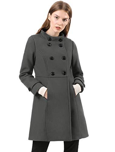 - Allegra K Women's Stand Collar Double Breasted Slant Pockets Trendy Outwear Winter Coat S Gray