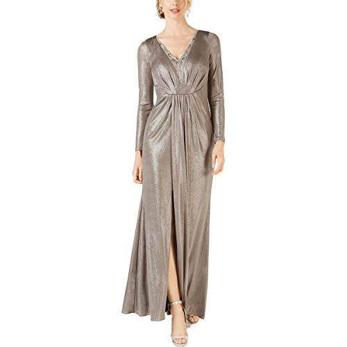 Adrianna Papell Women's Long Sleeve Blouson Foiled Jersey Dress, Silver, 14