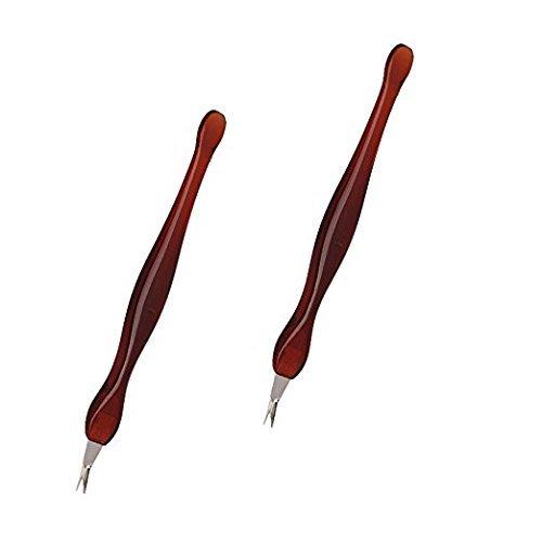 taonaisi 2Stück Praktische Nail Art Werkzeug Pediküre Nagelhautschieber Dead Haut Hornhaut Entfernung Gabel braun