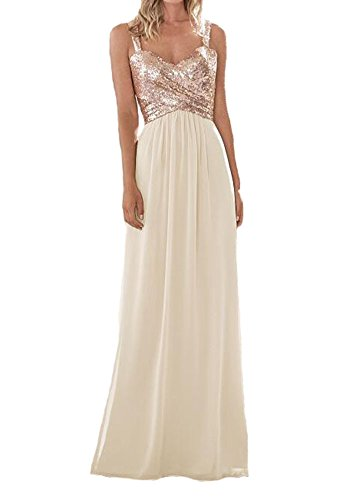 Ivory Sweetheart Neck (Firose Women's Sequined Sweetheart Backless Long Prom Bridesmaid Dress RoseGold/Ivory US6)