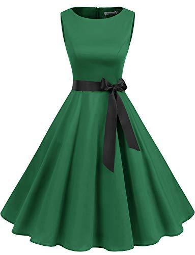 Gardenwed Women's Audrey Hepburn Rockabilly Vintage Dress 1950s Retro Cocktail Swing Party Dress Green 3XL -