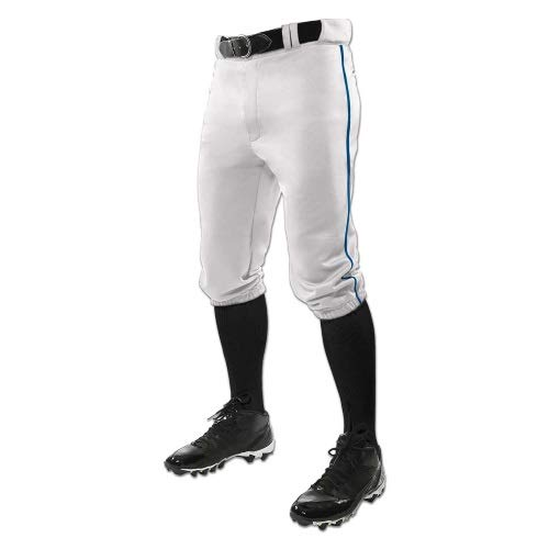 CHAMPRO Youth Triple Crown Braided Knicker Baseball Pant, White/Royal Pipe, Medium ()