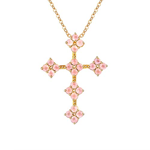 Rose Quartz Cross Necklace - Suplight Pink Flower Cross Pendant Necklace for Women/Girls Rose Quartz Gold Plated Christian Jewelry Elegant Flower Cross Necklace
