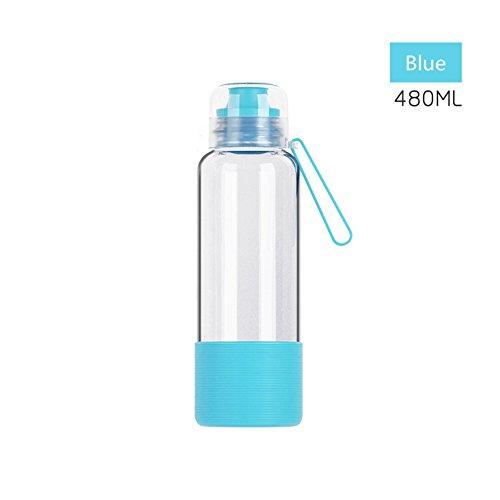 480ML Outdoortrinkflasche Sport Bottle Glasflasche Trinkflasche mit Silikonhülle und Handle (Blau)