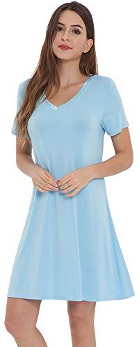 NEIWAI Women's Nightgowns Bamboo Sleep Shirt Short Lounge Dress Pale Blue XL