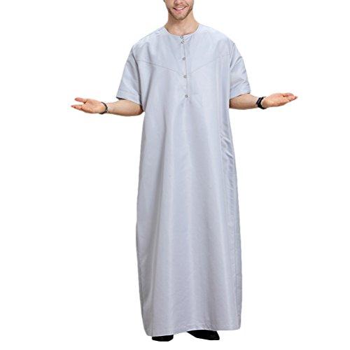 Zhuhaitf Mens Muslim Thobe Short Sleeve Button Arabic Arab Dress Robe Clothing