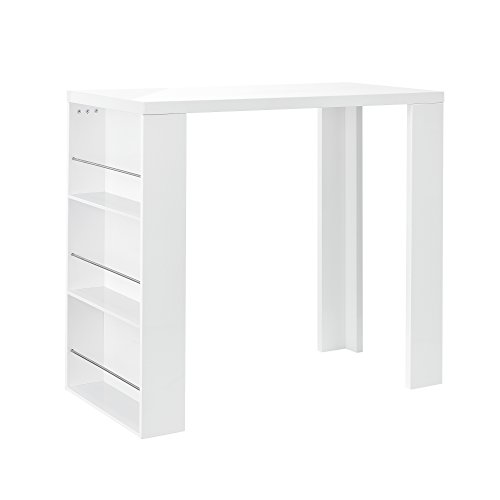 [en.casa] Mesa de Bar Alta con 3 estantes Blanca Tablero de Fibra laminada