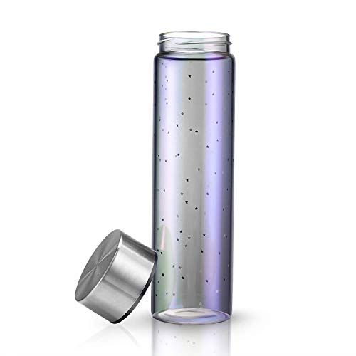 Glass Water Bottle Eco-Friendly Glass Water Bottle Wide Mouth Stainless Steel Leak-Proof Cap BPA-Free with A Non-Slip Sleeve and A Cleaning Brush for Sports and Travel (20 oz) ()