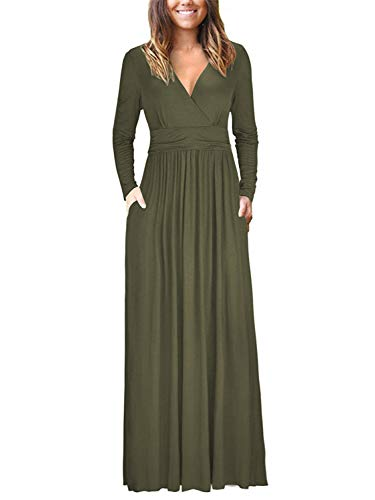 VOGRACE Women's Maxi Dress V-Neck Cocktail Party Long Dress with Pockets Army Green S
