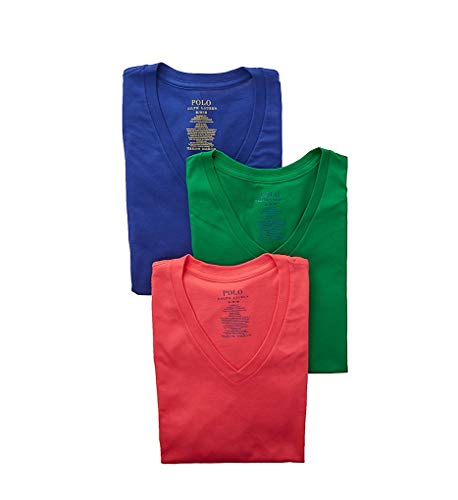 - Polo Ralph Lauren Classic Fit 100% Cotton V-Neck T-Shirts - 3 Pack (RCVNS3) XL/Navy/Green/Coral
