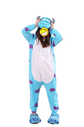 BELIFECOS Unisex Adult Pajamas Plush One Piece Sulley Cosplay Costume S -