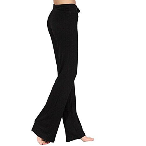 Dong Dian Women's Soft Slimming Gym Workout Yoga Bootleg Pants Black L