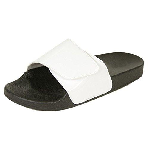 Kvinners Lysbilde På Glitter Kjede Bånd Flat Sandal-flip-flop Tøffel Hvit Blank