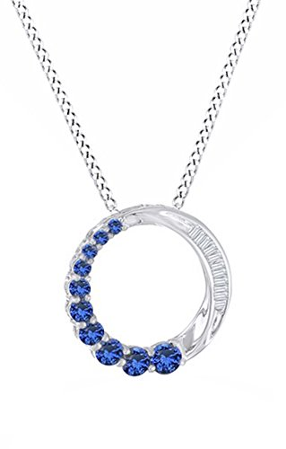Journey Birthstone Pendant Circle - Simulated Blue Sapphire & White Natural Diamond Accent Journey Circle Pendant In 10k White Gold
