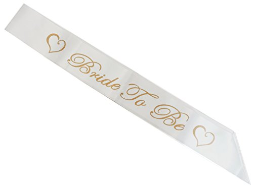 Bride To Be Pearl White & Gold Satin Party Sash Accent Sash