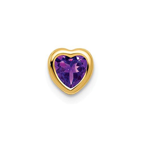 (14k Yellow Gold 5mm Heart Purple Amethyst Bezel Pendant Charm Necklace Slide Chain Gemstone Love Ful Fine Jewelry For Women Gift Set)