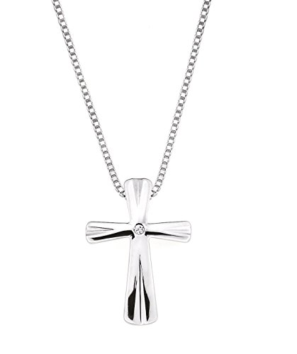 Boston Bay Diamonds 925 Sterling Silver Diamond Accent Cross Pendant Necklace with 18