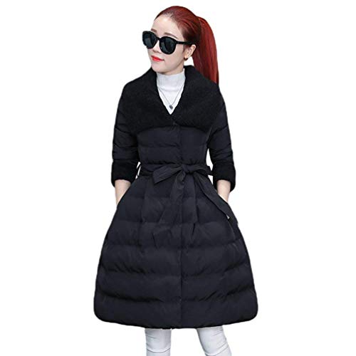 couleurs mode chauds épaissir manteau Manteau manches matelassé de Veste femme manteaux jeunes inclus Schwarz élégant d'hiver ceinture unies revers à matelassée la long qOaXzxO