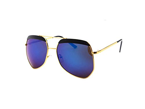 Personalidad liwenjun Cara De Oro Sol Conducción De Gafas Oscuro Azul UV Gafas Protección Polarizadas Marco Sol De Salvaje De Tabletas Gafas Moda Redonda rACnqrZx
