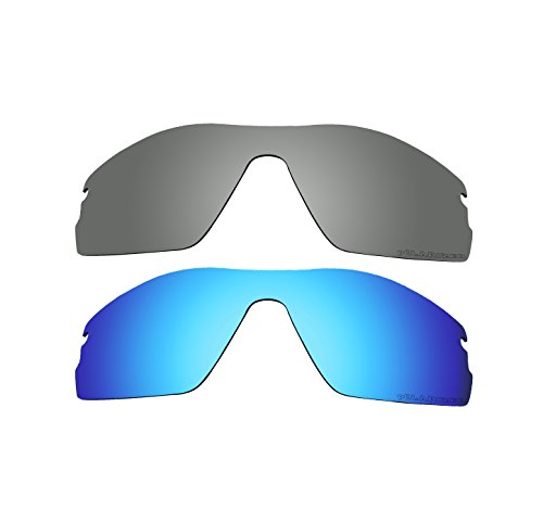 2 Pairs BVANQ Polarized Replacement Lenses Blue & Black Iridium for Oakley Radar Pitch - Sunglasses Radar Pitch