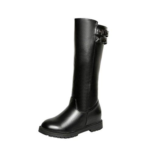 Stiefel Schuhe Jamicy® Beiläufiger Eleganter Winter Frauen Leder Schenkel hohe Stiefel über dem Knie Stiefel erhöhte flache Fersen Schuhe Schwarz