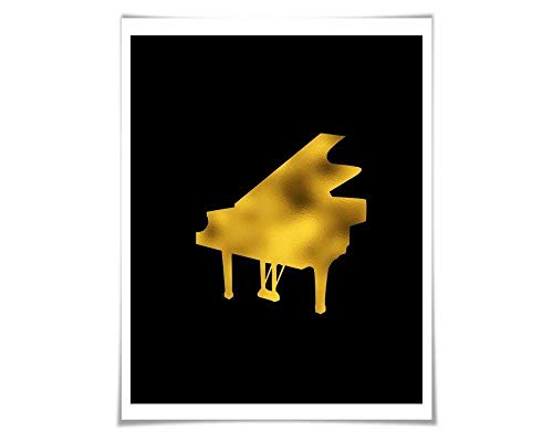(Grand Piano Gold Foil Art Print. 36 Colours/3 Sizes. Musical Poster Gift for Musician Classical Music Decor Art)