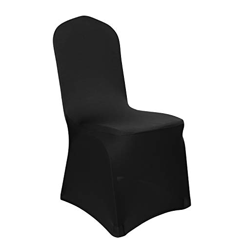 Deconovo Set of 6pcs Black Chair Covers Spandex Banquet Party Chair Covers for Living Room