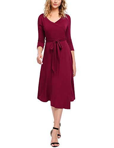 HOTOUCH Womens Soft Cotton A Line Surplice Wrap Dress for Wedding Party Dark Red - Surplice Dress Cotton