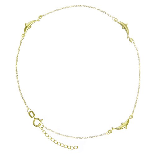 Anklet, 10'' Inches 14Kt Gold Anklet by DiamondJewelryNY