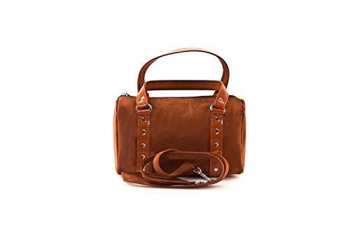 Bauletto borsa donna ANNALUNA ruggine MADE IN ITALY camoscio borsetta sera N330