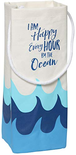 C.R. Gibson Beach House and Nautical Décor Blue Wave ''I Am Happy Every Hour By The Ocean'' Canvas Wine Bag, 4'' W x 12.5'' - Hamptons Wine Carrier