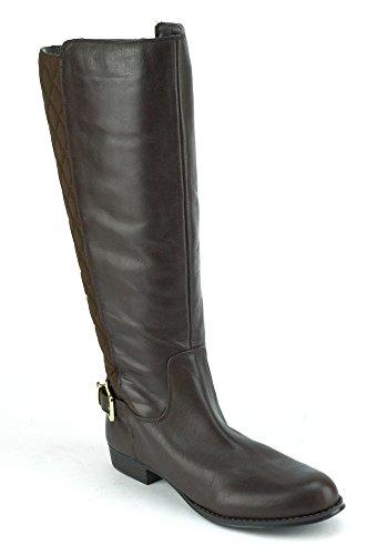 Isaac Mizrahi Live! Tally Kvinna Mörkbrunt Läder Ridstövlar Widecalf Brun
